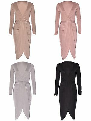 Womens Ladies Wrap Over V Plunge Front Ruched Midi Party Slinky Bodycon Dress