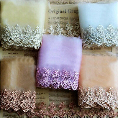 Embroidered Tulle Mesh Lace Edge Trimming Sewing Wedding Ribbon Craft DIY