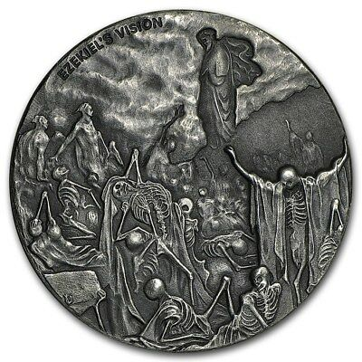 2016 Biblical Series Valley Of Dry Bones 2 oz .999 Silver Antiqued Finish Coin