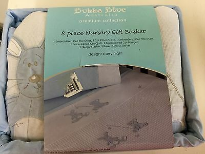 Brand New Bubba Blue Starry Night Boys 8  Piece Cot Set Baby Gift Boxed Basket