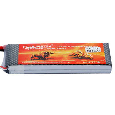 Floureon 2S 7.4V 4000mAh 30C with Traxxas Plug LiPo Battery Pack for RC Evader