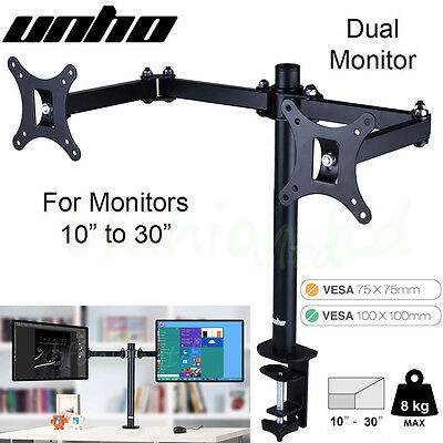 UNHO Desk Mount Dual Twin Arm LCD Computer TV Monitor Stand Adjustable 2 Screens