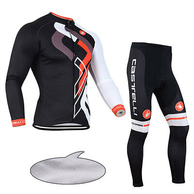 Winter Thermal Fleece Long Sleeve Bike Warm Cycling Jersey Jacket Pants Kits