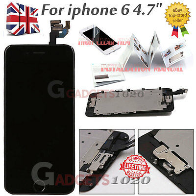 """Black iPhone 6 4.7"""" Replacement Digitizer LCD Touch Screen & Home Button Camera"""