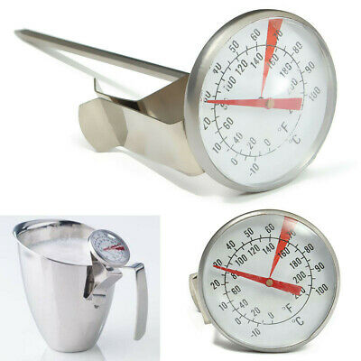 -10-110°C Stainless Steel Coffee Latte Milk Frothing Thermometer Probe Jug Clip