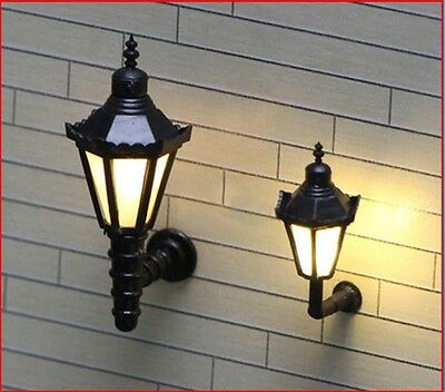 2pcs 3V Wall Station House Lamp Lights Lampposts HO - TT SCALE 23 x 8mm