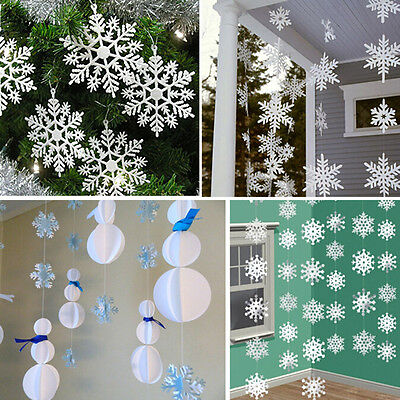 3m White Paper Material 3D Snowflake Pendant Garland Christmas Decoration SPUS