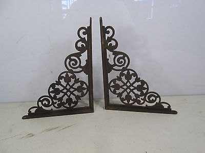 2 Vintage Cast Iron Shelf Brackets Flower Design
