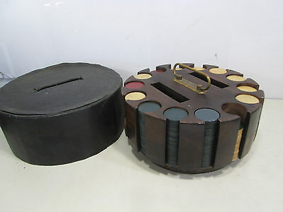Vintage Lot of Clay Poker Chips with Walnut Carrier