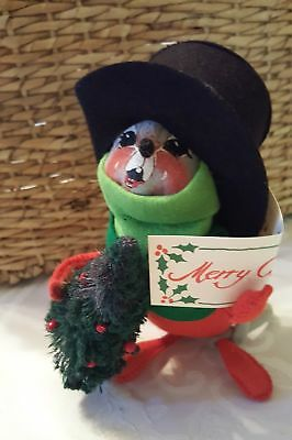 """Annalee Mobilitee Doll 7"""" Caroler Mouse 1993 Merry Christmas song book #7754"""