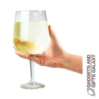 GIANT PLASTIC WINE GLASS HOLDS UP TO 75cm BOTTLE OF WINE gift party novelty