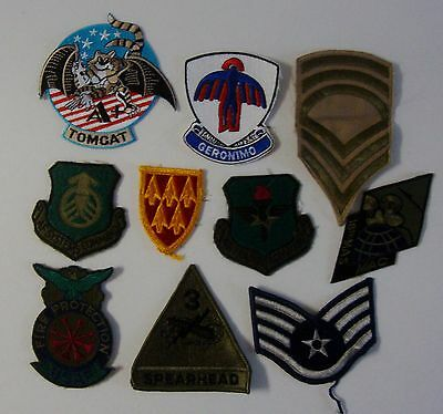 Vintage Lot Of 10 MILITARY US PATCHES Tomcat Spearhead Geronimo Command USAF ETC