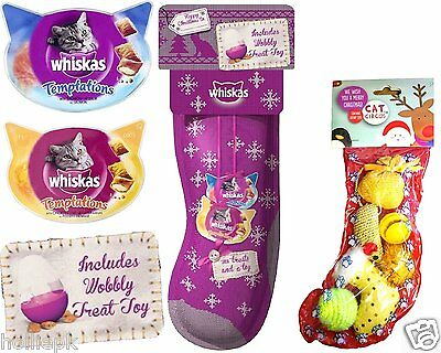 Christmas Whiskas Temptations Dentabites Treat & 6 Cat Circus Toy Stocking