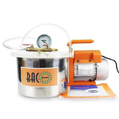 BACOENG 1.5 Gallon Vacuum Chamber Kit with 2.5CFM Single Stage Vacuum Pump HVAC
