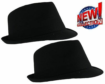 Classic Black Lightweight Cotton Trilby Hat 3 sizes