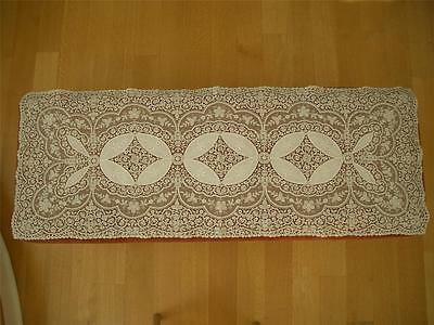 "SUPERB LG 48"" RECTANGULAR  Antique Vtg SCHIFFLI EMBROIDERY NET LACE RUNNER PANEL"