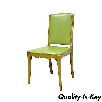 Vintage Hollywood Regency Art Deco Modern Green Vinyl Vanity Side Desk Chair