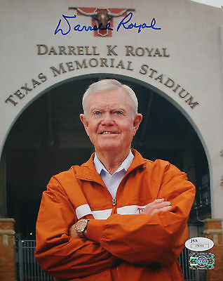 Darrell Royal Autographed 8x10 In Front of Stadium Photo- JSA Authenticated