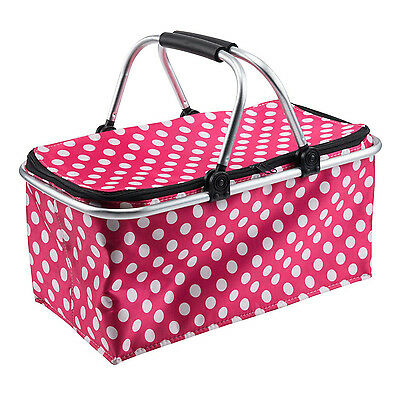 Picnic Basket Insulated Collapsible Cooler Bag w Carrying Handles,Hot Pink