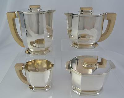 Tetard Freres Sterling Silver Art Deco Tea Set 4pc Paris France c.1925