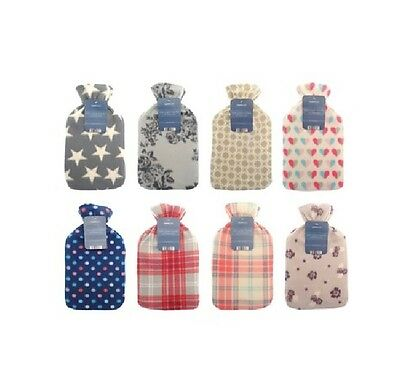 Shabby Chic 2LITER Hot Water Bottle Assorted Cover Fleece NATURAL RUBBER WARMER