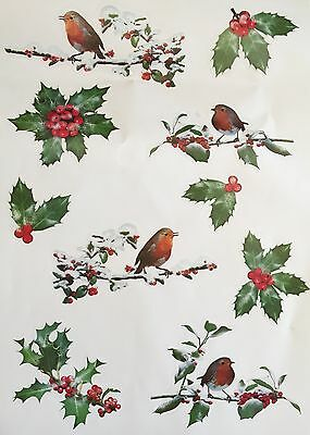 10 Piece Robin Holly Window Cling Stickers Mirror Vintage Christmas Decorations