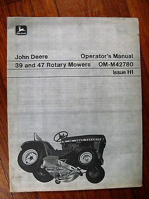 John Deere 39 47 Mower Operators manual 110 112 tractor