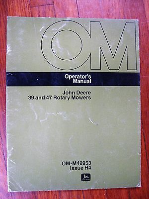 John Deere 39 47 Mower Operators manual 110 112 200 210 212 214 tractor