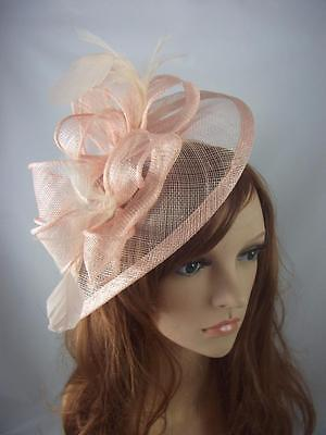 Nude Pink Teardrop Sinamay Fascinator with Feathers - Occasion Wedding Races