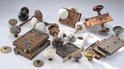 Lot of Vintage Porcelain and Brass Door Knobs and Locks