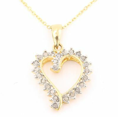 .25ctw GENUINE DIAMONDS IN 925 STERLING SILVER LOVE HEART NECKLACE DP025