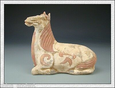 Rare Beautiful Magnificence Chinese Colored Pottery Portray Lying Horse
