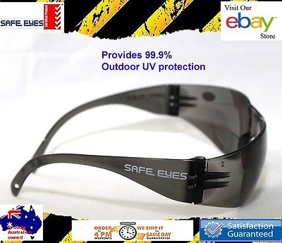 30x pairs  Safety Glasses grey smoke lens Australian standard ++