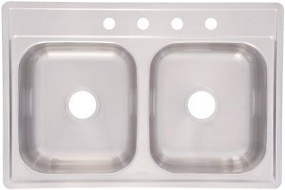 Kindred FDG704NB Double Bowl Stainless Steel 33x22in. Topmount Sink