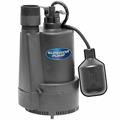 Superior Pump 92330 1/3 HP Thermoplastic Sump Pump with Tethered Float Switch