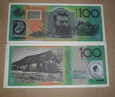 NED KELLY $100 AUSTRALIAN NOVELTY BANK NOTE x 10 EXCELLENT TRACKING POSTAGE