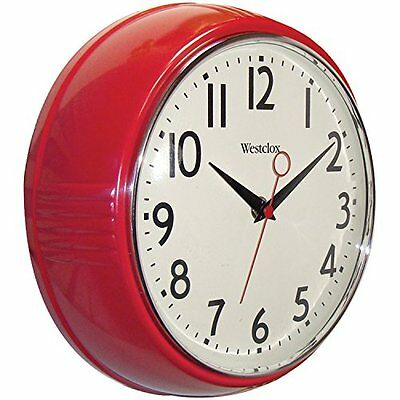 Westclox 32042R Extra-Thick Retro Wall Clock, Round, 9-1/2 In, Red