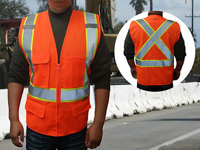 Premium ANSI Class 2 Safety Vests w/ Reflective X on the Back & Multiple Pockets