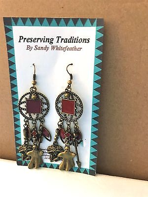 Day of the Dead Earrings Brass - Ghosts, Music Native made Whitefeather