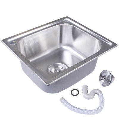 Stainless Steel Single One Bowl Laundry Kitchen Sink Square Topmount Sink+WASTE