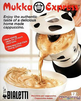 NEW BIALETTI 2 CUP MUKKA EXPRESS StoveTop Cappuccino Coffee Percolator Cow Print