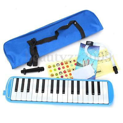 32 Keys Melodica Reed Keyboard Harmonica w/ Bag Short & Long Mouthpiece For Gift