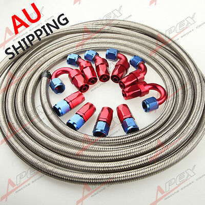 AN6 6-AN STAINLESS STEEL BRAIDED OIL/FUEL Hose + Fitting Hose End Adaptor Kit AU