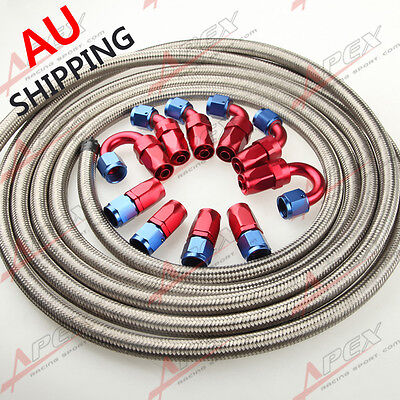 AN6 AN-6 Stainless Steel Braided Oil Fuel Hose+ Fitting Hose End Adaptor AU SHIP