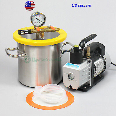 2 Gallon Vacuum Degassing Chamber and 3CFM Vacuum Pump