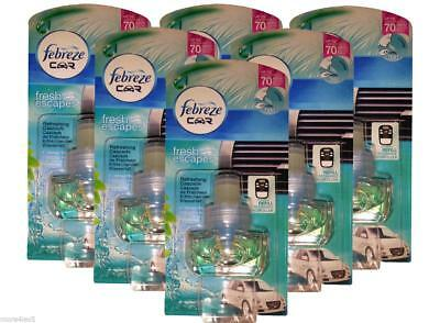 6 x Febreze Car Air Freshener REFRESHING CASCADE Refill Refills Work in AMBI PUR