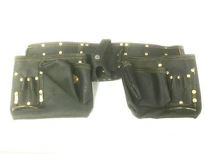 Heavy Duty Pockets Nail Bag Tool Belt Pouch leather -Brand New