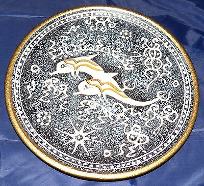 Stunning handmade embossed/3D Plate with dolphin design - 9 inches