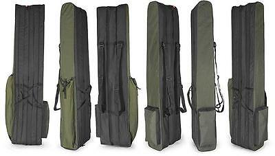 3 POCKETS 130cm FISHING HOLDALL BAG LUGGAGE for made up rods & reels GREEN BLACK