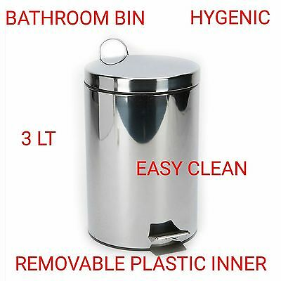 3 Litre Stainless Steel Kitchen Bathroom Toilet Pedal Bin Waste Household Small